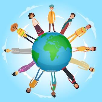 Ilustração do conceito com povos internacionais masculino e feminino em pé no planeta terra