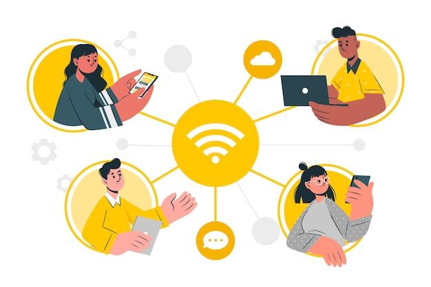 Ilustração do conceito conectado