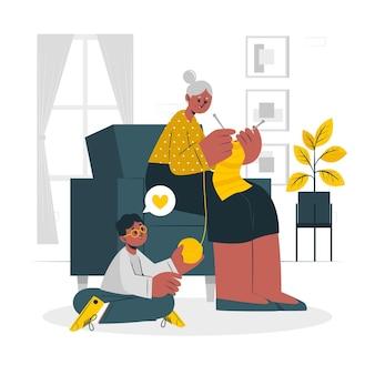 Ilustração do conceito da avó