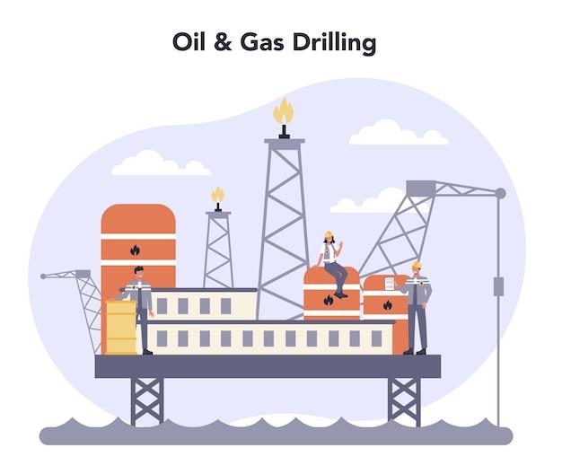 Ilustração do conceito da indústria de petróleo e gás