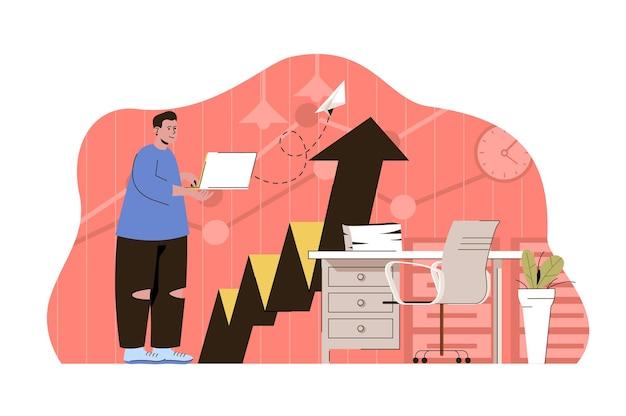 Ilustração do conceito da web de campanha publicitária com personagem de pessoas planas