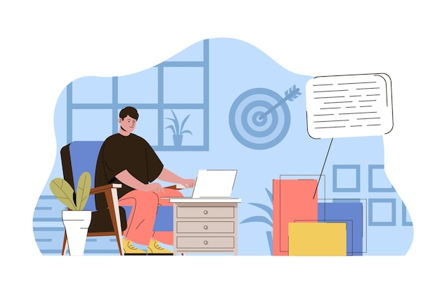Ilustração do conceito da web de marketing de conteúdo com caráter de pessoas planas Vetor Premium