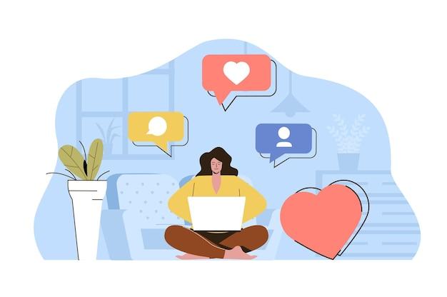 Ilustração do conceito da web do criador de conteúdo com personagem de pessoas planas