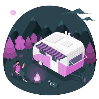 Ilustração do conceito de acampamento com uma caravana