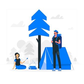 Ilustração do conceito de acampamento de verão