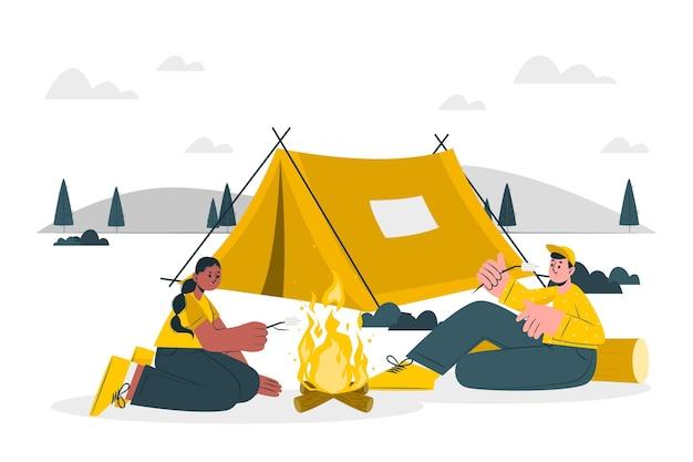 Ilustração do conceito de acampamento