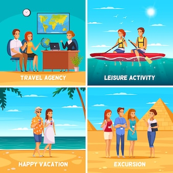 Ilustração do conceito de agência de viagens