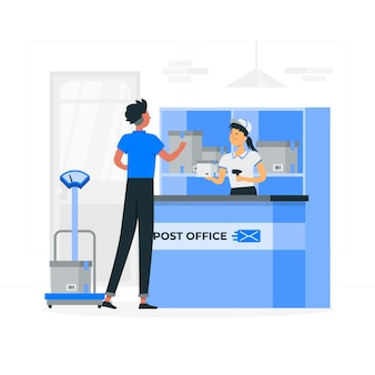 Ilustração do conceito de agência postal