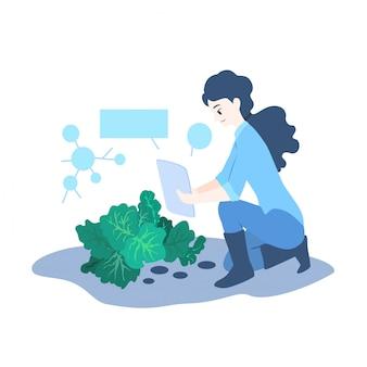 Ilustração do conceito de agricultor inteligente