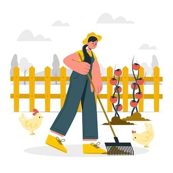 Ilustração do conceito de agricultor