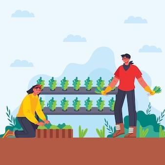 Ilustração do conceito de agricultura biológica de homem e mulher