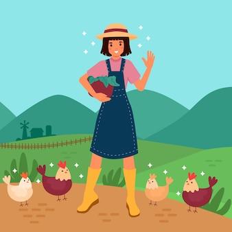 Ilustração do conceito de agricultura orgânica