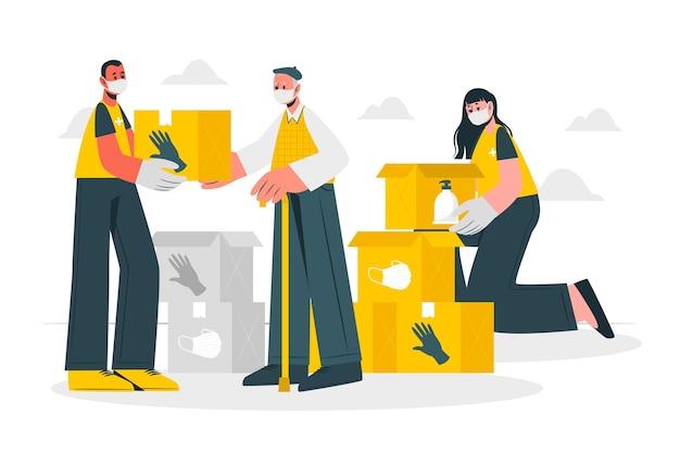 Ilustração do conceito de ajuda humanitária