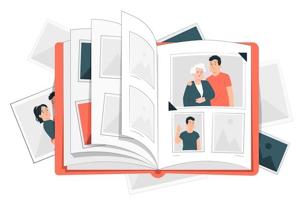 Ilustração do conceito de álbum de fotos