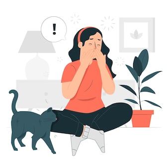 Ilustração do conceito de alergia a gatos