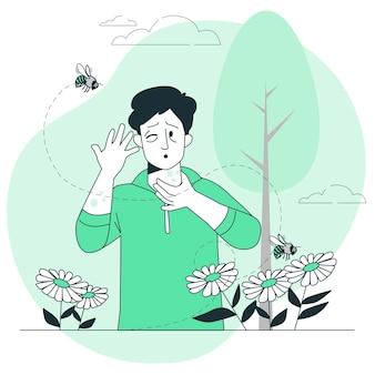 Ilustração do conceito de alergia a vespas