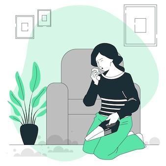 Ilustração do conceito de alergia ao pó
