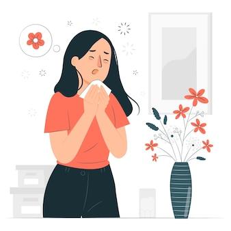 Ilustração do conceito de alergia ao pólen