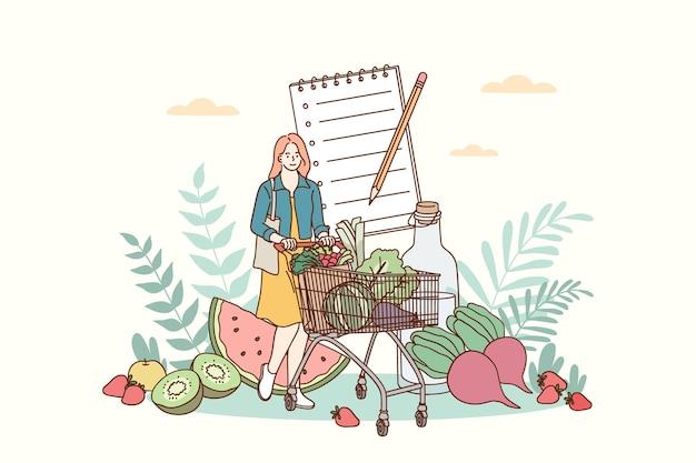Ilustração do conceito de alimentação saudável e estilo de vida saudável