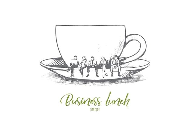 Ilustração do conceito de almoço de negócios