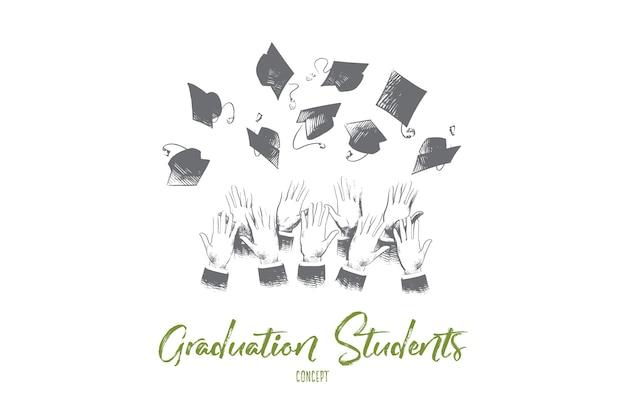 Ilustração do conceito de alunos de graduação