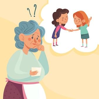 Ilustração do conceito de alzheimer desenhada à mão