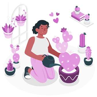 Ilustração do conceito de amante de cactos