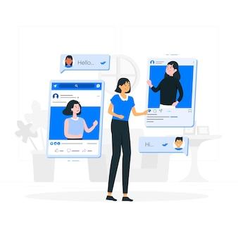 Ilustração do conceito de amigos online