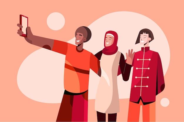 Ilustração do conceito de amizade étnica plana