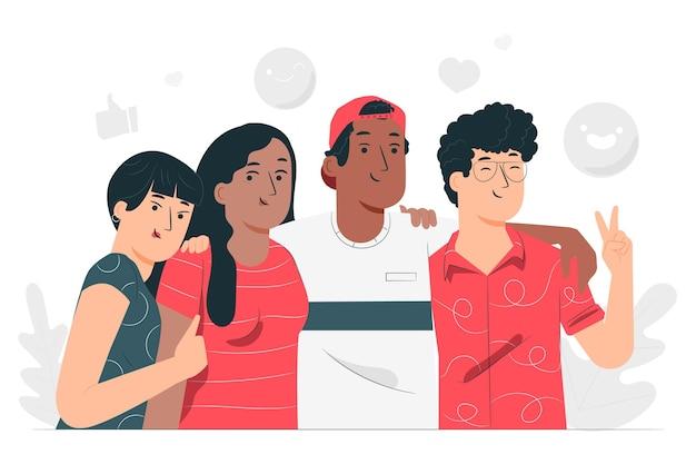 Ilustração do conceito de amizade étnica
