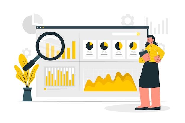 Ilustração do conceito de análise da instalação