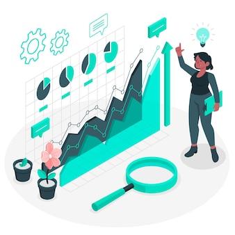 Ilustração do conceito de análise de crescimento