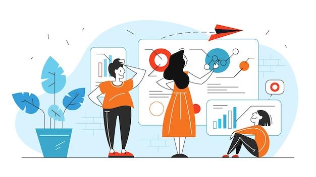 Ilustração do conceito de análise e análise de dados de negócios