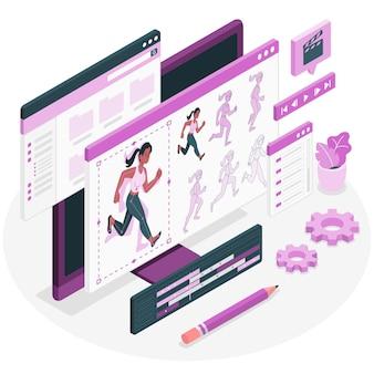 Ilustração do conceito de animação (movimento)