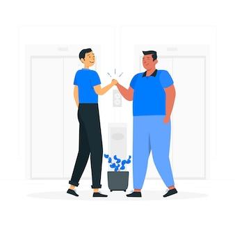 Ilustração do conceito de aperto de mão amigável