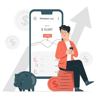 Ilustração do conceito de aplicativo financeiro