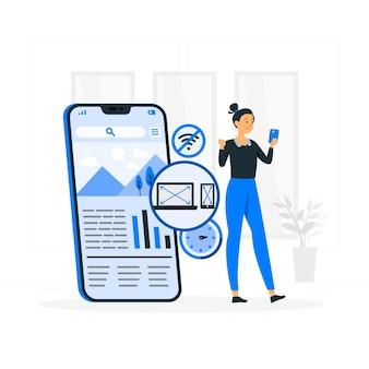 Ilustração do conceito de aplicativo progressivo