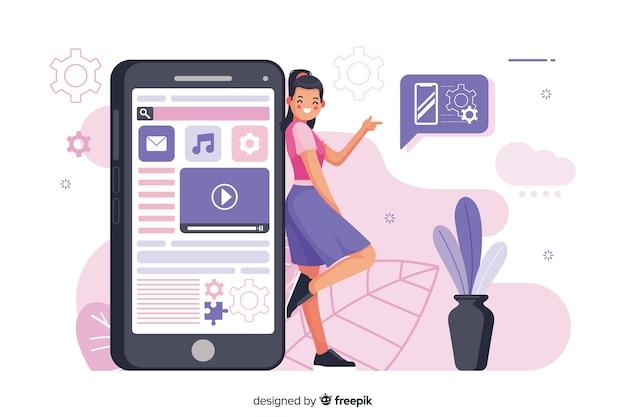 Ilustração do conceito de aplicativos móveis