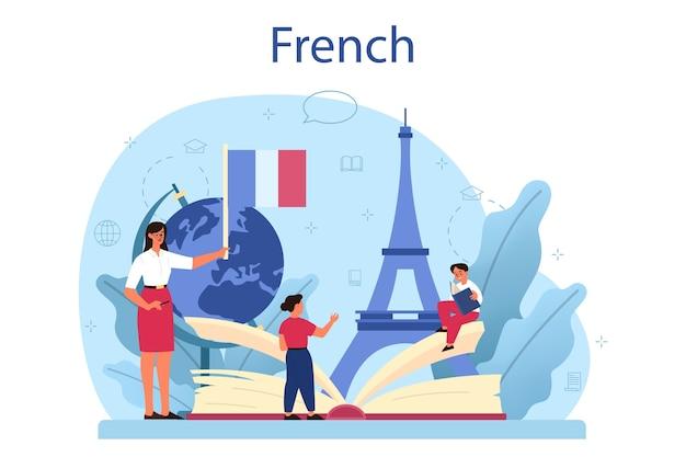 Ilustração do conceito de aprendizagem de francês