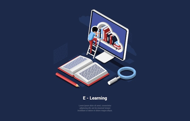 Ilustração do conceito de aprendizagem de internet.