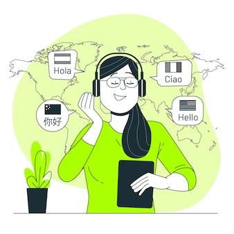 Ilustração do conceito de aprendizagem de línguas
