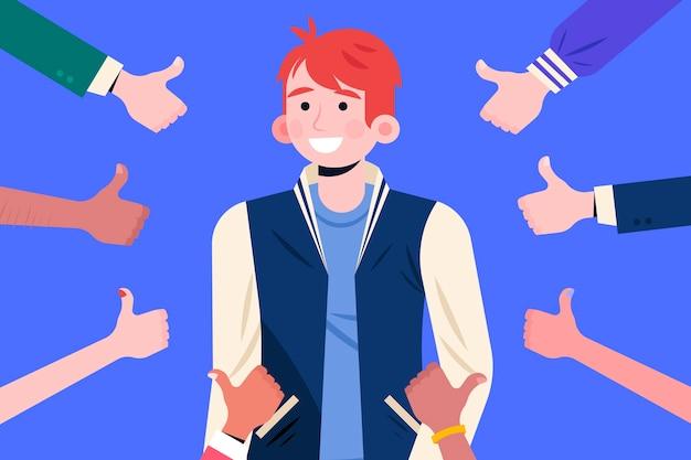 Ilustração do conceito de aprovação pública com polegares para cima