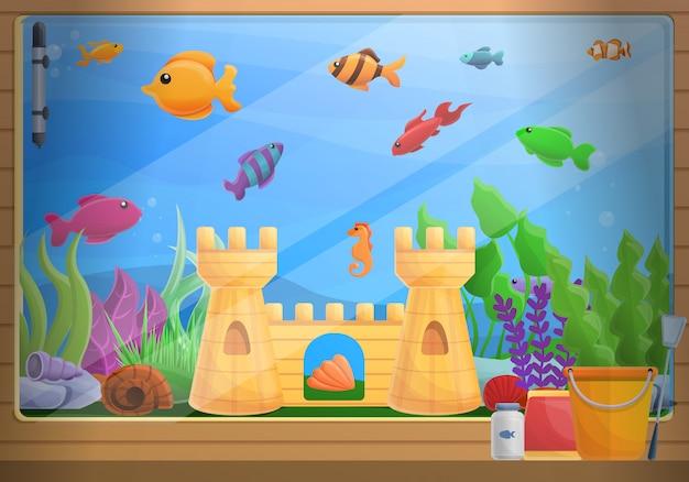 Ilustração do conceito de aquário em casa, estilo cartoon