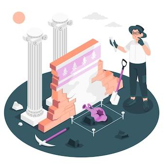 Ilustração do conceito de arqueologia