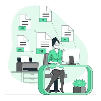 Ilustração do conceito de arquivos de texto