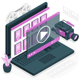 Ilustração do conceito de arquivos de vídeo