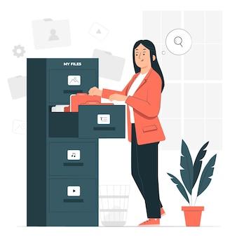 Ilustração do conceito de arquivos pessoais
