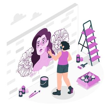 Ilustração do conceito de artista mural