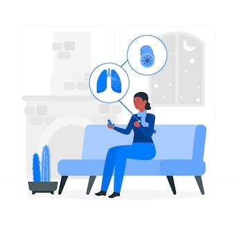 Ilustração do conceito de asma