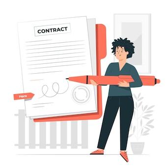 Ilustração do conceito de assinatura de um contrato